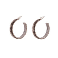 Black Ombre Cup Chain Hoop Earrings