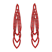 Red Gunmetal Loop Cup Chain Earring - link has visual effect only