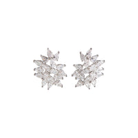 Statement Navette Crystal Cluster Stud - link has visual effect only