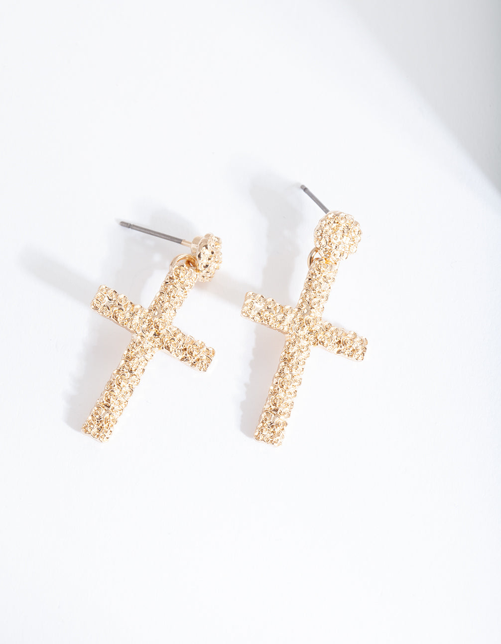 Gold Mini Textured Cross Earring
