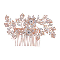 Rose Gold Diamante Flower Leaf Comb