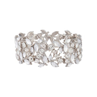 Rhodium Multi Diamante Leaf Bracelet - link has visual effect only