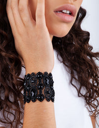 Black Coated Metal Jewelled Lace Stretch Cuff - link has visual effect only