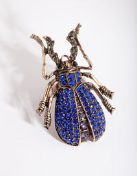 Antique Gold Blue Diamante Bug Ring