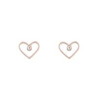 Rose Gold Diamante Cut-out Heart Earring