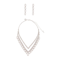 Silver Diamante Leaf Earring Necklace Set - link has visual effect only