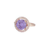 Rose Gold Purple Cubic Zirconia Round Surround Ring