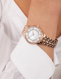 Rose Gold Pearl Face Watch