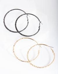 Mixed Metal Textured Hoop Earring 2 Pack - link has visual effect only