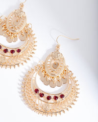 Gold Red Diamante Disc Earring
