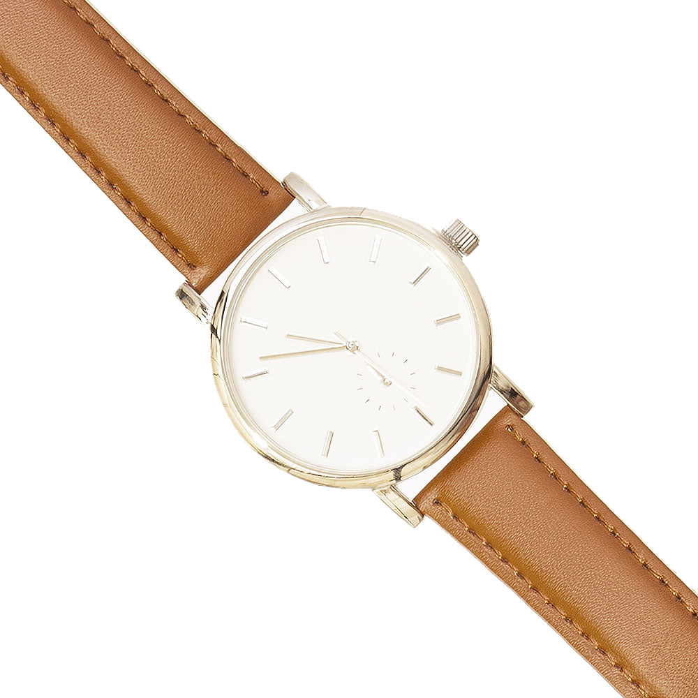 Classic Style Watch With Brown Strap