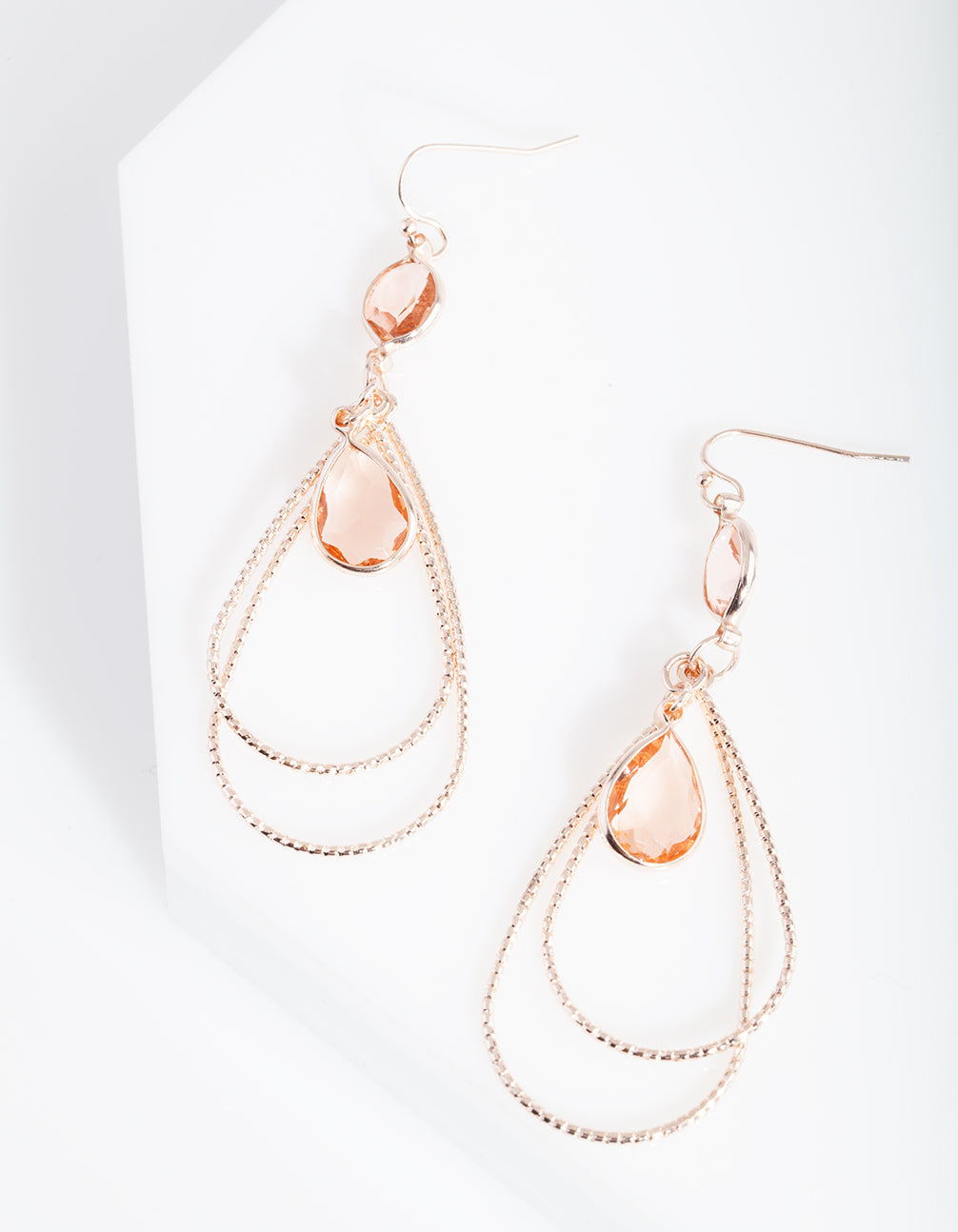 Rose Gold Textured Stone Earring