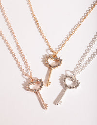 Mixed Metal Key Necklace Pack