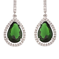 Emerald Diamond Simulant Drop Earrings