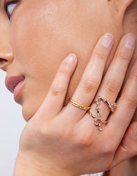 Gold Plated Diamante Twist Ring Stack