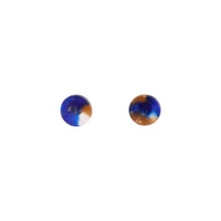 Blue Resin Mini Circle Stud Earring