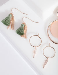 Rose Gold Pink Green Earring Pack
