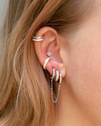 Rhodium Cubic Zirconia Double Huggie Earrings - link has visual effect only