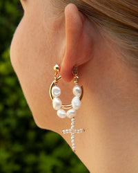 Gold Freshwater Pearl Loop Earring - link has visual effect only