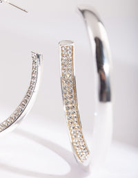 Silver Internal Diamante Hoop Earring