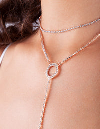 Rose Gold Circle Cup Chain Y Neck Choker - link has visual effect only