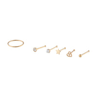 Gold Mixed Nose Piercing 6 Pack - link has visual effect only