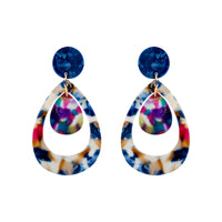 Double Teardrop Acrylic Earring in Blue Multi