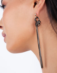 Gold Black Snake Chain Knot Earring - link has visual effect only
