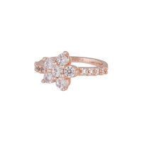Rose Gold Cubic Zirconia Flower Ring