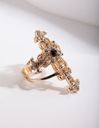 Gold Regal Diamante Cross Ring