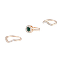 Gold Engagement Emerald Centre Ring Stack - link has visual effect only