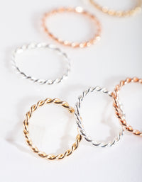 Mixed Metal Twisted Faux Body Rings - link has visual effect only