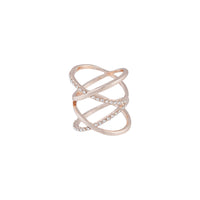 Rose Gold Diamante Double Crossover Ring