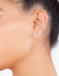 Rose Gold Greek Leaf Jacket Stud Earring - link has visual effect only