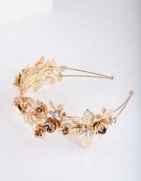Gold Flower Leaf Pearl Headband - link has visual effect only