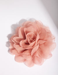 Pink Fabric Mesh Rose Clip - link has visual effect only