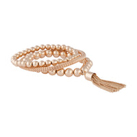 Gold Facet Bead Mesh Bracelet Set