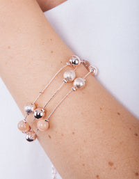Rose Gold Mix Bead Cat Eye Chain Bracelet