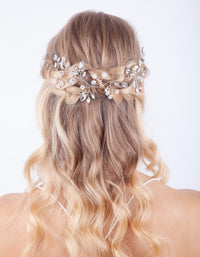 Silver Faceted Pearl Leaf Hair Vine