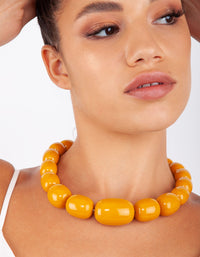 Yellow Acrylic Bead Short Necklace - link has visual effect only
