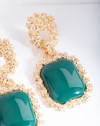 Green Gold Textured Rectangle Earring - link has visual effect only