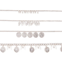 Antique Silver Anklet Bracelet 4 Pack
