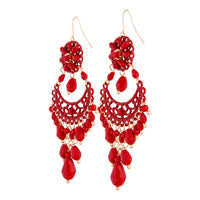 Red Beaded Chandelier Drop Earring