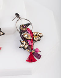 Red Halo Bird Statement Earrings - link has visual effect only