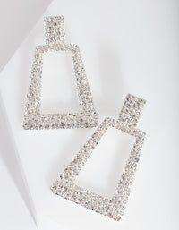Silver Diamante Geometric Earring - link has visual effect only