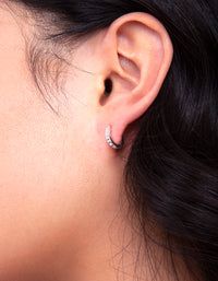 Silver Diamante Huggie Earring - link has visual effect only