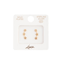 Gold Plated Sterling Silver Triple Star Stud Earring - link has visual effect only