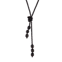 Black Facet Bead Lariat Necklace - link has visual effect only