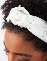 White Fabric Knot Pearl Headband - link has visual effect only