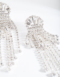 Silver Diamante Fringe Drop Earring